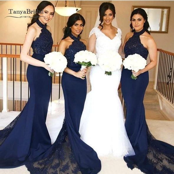 Navy Mermaid Bridesmaid Dresses Halter Neck with Lace Maid of Honor Gowns Long Formal Wedding Guest Party Dresses