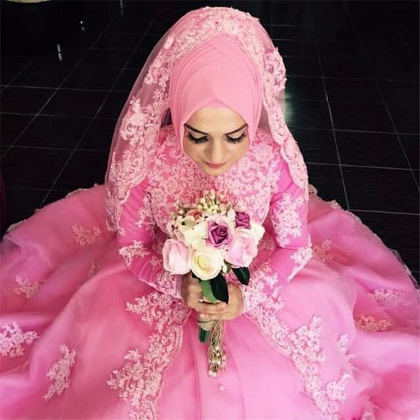 Muslim Pink Wedding Dresses Long Sleeve Applique Lace Bridal Gowns TBW26