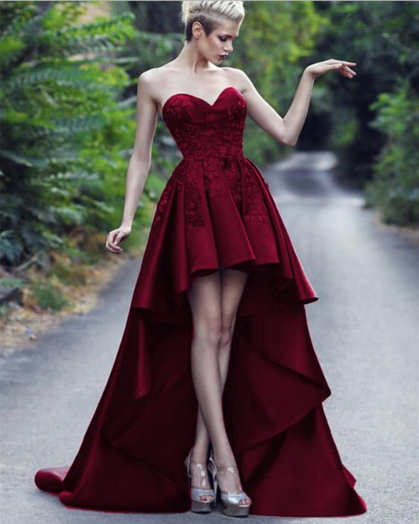 Sweetheart Short Front Long Back Burgundy Prom Dresses Party Gown