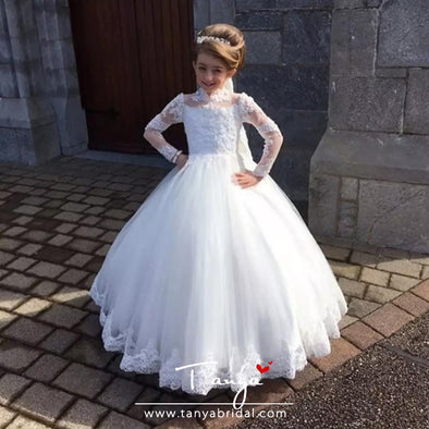 Stylish White Flower Girls Dress for Wedding Party TBF016