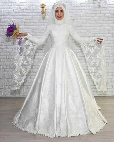 Luxury Muslim A Line Wedding Dress High Neck Long Flare Sleeves TBW75