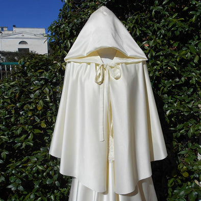Ivory Silk Satin Wedding Cloak shawl jacket hooded Cape Bridal Accessories DJ076