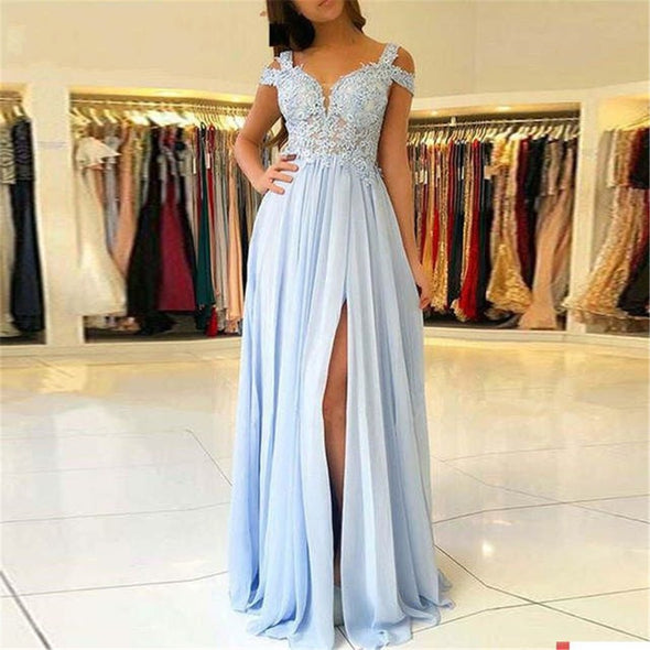 Light Blue Lace Bridesmaid Dresses Chiffon High Slit Side Sleeves Appliques Long Party Guest Wedding Party Gown