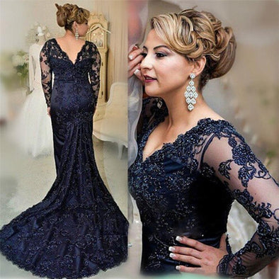 Long Sleeves Evening Dress Mermaid Applique Lace Women Lady Wear Formal Event Gown Mother of The Bride Dress