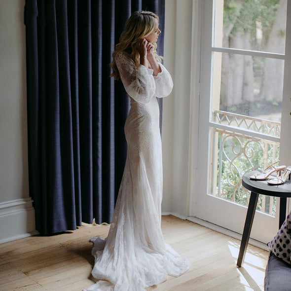 Mermaid Lace Wedding Dresses Long Sleeve Backless Bridal Gowns Boho Elegant Robe de soriee ZW298