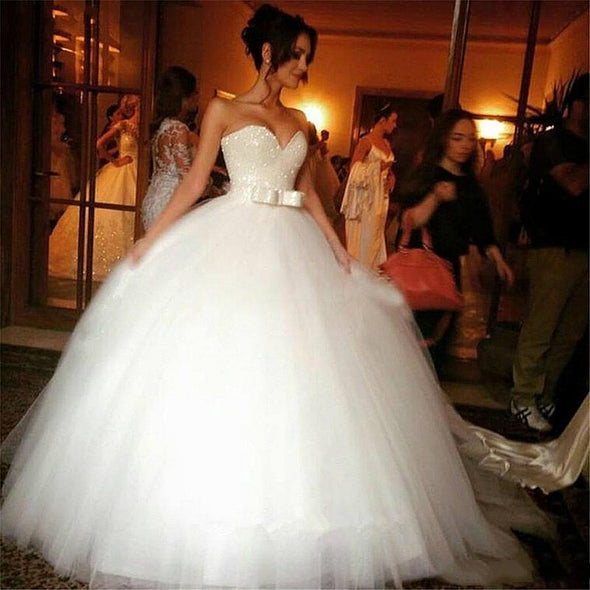 Princess Wedding Dresses 2020 Beaded Strapless Ball Gown Bride Dress vestidos de novia For Women