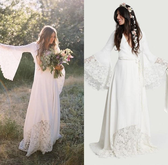Chic Bohemian Long Bell Sleeve Lace Flower Beach Wedding Dresses