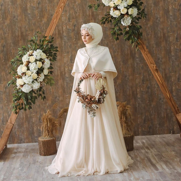 Long Sleeves Muslim Wedding Dresses With Cape DQG1100