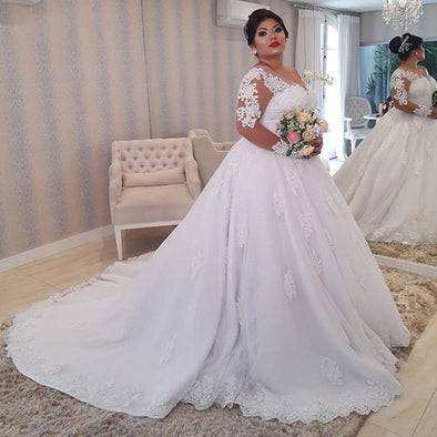 White Lace Appliques Plus size Wedding Dresses Long Sleeves Lace Up Back Wedding Gowns
