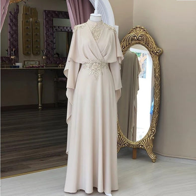 High Neck Full Sleeve Robe De Soiree Dubai Moroccan Kaftan Evening Dresses ZE069