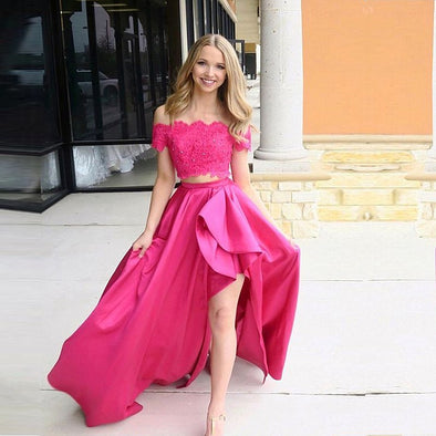 Two Pieces Fuchsia Prom Dresses Long With Lace Appliques