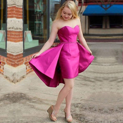 Fuchsia Homecoming Dresses With Detachable Skirt Short Beadings Party Gown