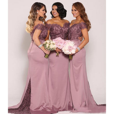 Mermaid Lace Bridesmaid Dresses Formal Maid of Honor Gowns Backless Long Off the Shoulder Wedding
