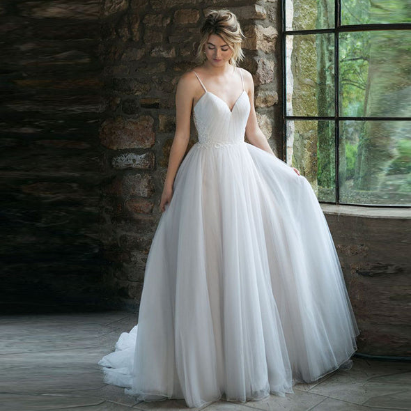 Modest Tulle Wedding Dresses With Button On Back TBW40