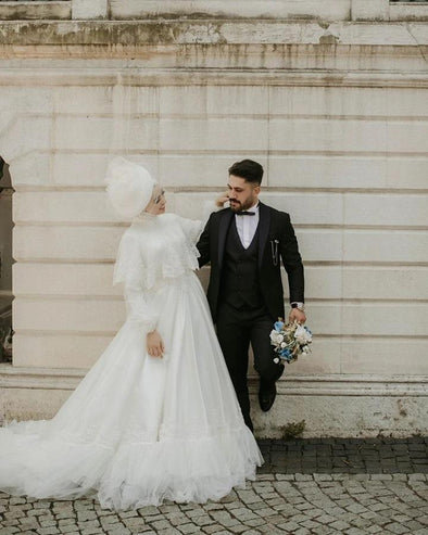 Muslim White Wedding Dresses With Wrap TBW25