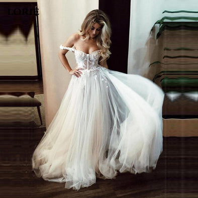 A Line Lace Wedding Dresses Off The Shoulder Boho Bride Dresses Sexy Backless