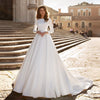 Muslim Satin Wedding Gowns Elegant Long Sleeve Abito Da Sposa  TBW21