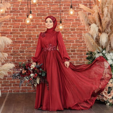 Long Sleeves Muslim Wedding Dresses Red Chiffon High Neck A Line Arabic Dubai Wedding Gown DQG1101