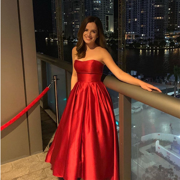 Simple Red Evening Dress A-Line Strapless Hi-Lo Formal Party Dresses