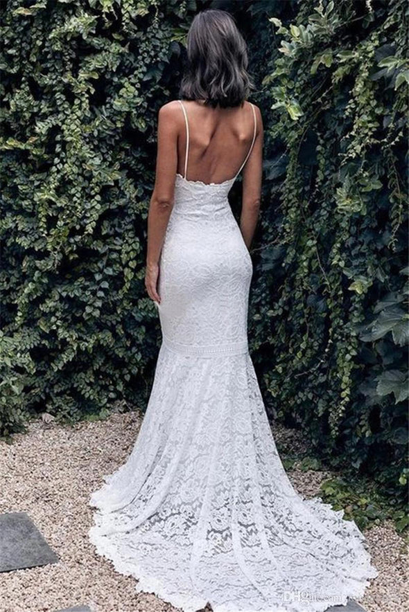 Bohemian Lace Mermaid Wedding Dresses with Spaghetti Straps