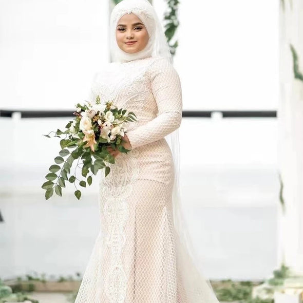 Hijab Long Sleeve Muslim Wedding Dress TBW79