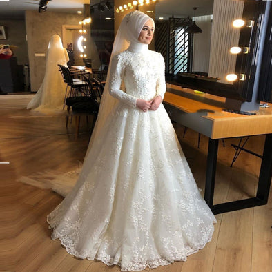 Muslim Wedding Dress with Hijab Long Sleeves Arabic Bridal Gowns