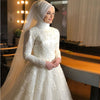 Islamic Ivory Full Lace Pearls Muslim Wedding Dress without Hijab