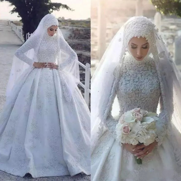 Muslim Wedding Dress With Hijab Long Sleeves Lace Appliqued Bridal Gowns TBW77