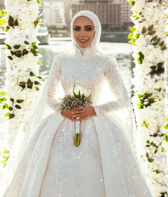Muslim Wedding Dresses Lace Sequined Long Sleeve With Hijab
