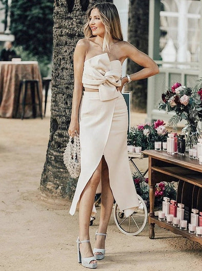 Two Piece Strapless Light Champagne Bridesmaid Dress with Bowknot Split