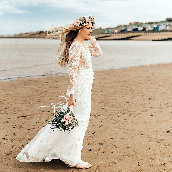 Bohemian Long Sleeves V  Back Mermaid Lace Wedding Dresses