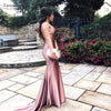 Dusty Rose Silk Satin Evening Dresses Mermaid elegant Sexy Prom Gowns DE024