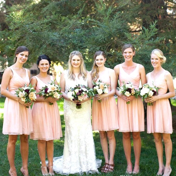 Chiffon Bridesmaid Dress Pink V-neck Backless Ruched Maid of Honor Gown