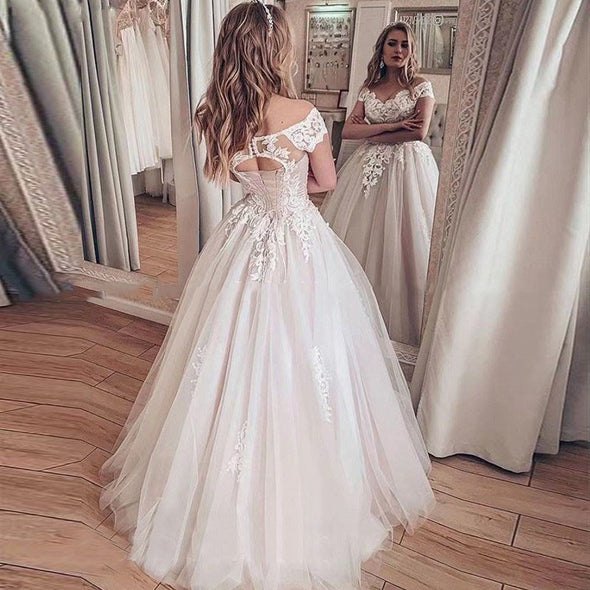 Lace Wedding Dress A Line Vestidos de novia Off The Shoulder Lace Sexy Bridal Gown Lace Up Back Wedding Gowns