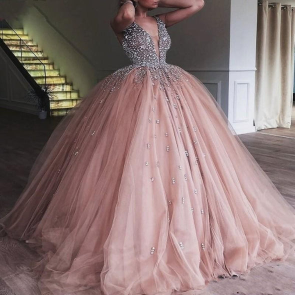 Champagne Tulle Ball Gown Quinceanera Prom Gowns With Crystal