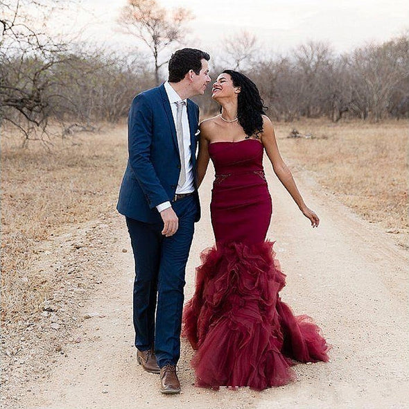 Burgundy Mermaid Wedding Dresses