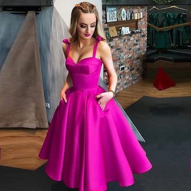 Fuchsia Homecoming Dresses With Pockets Satin A Line Knee Length Graduation Party Gown