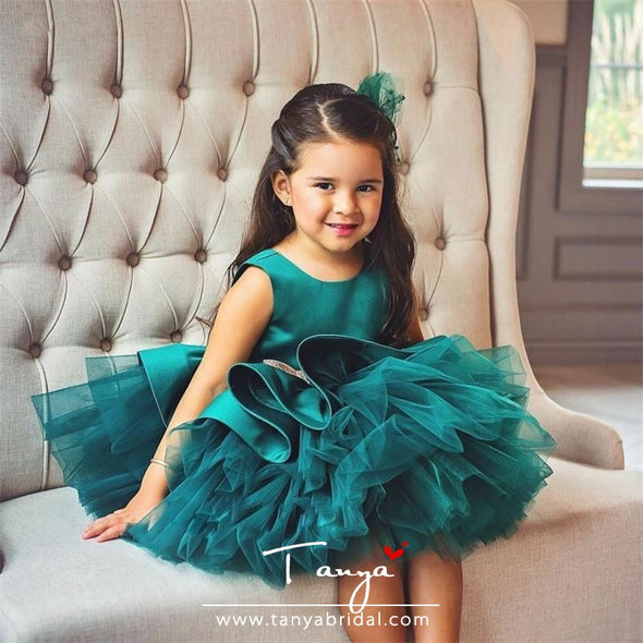 Puffy Green Ball Gowns Flower Girls Dresses Scoop Bows Birthday Party Girls Pageant Gowns TBF019