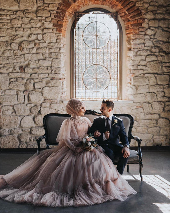 Dusty Pink Muslim Wedding Dresses Long Sleeves High Neck Bride Dress DQG1102