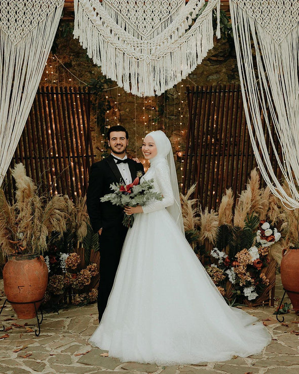 Muslim Wedding Dresses A Line Bling Bling Bride Gown