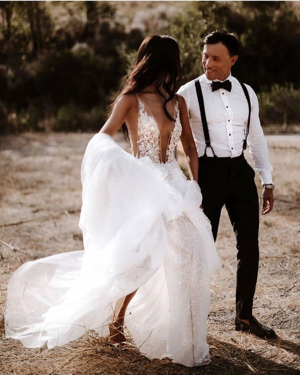 Sexy Deep V Lace Appliques Wedding Dresses Hot Slit Tulle Bridal Gown