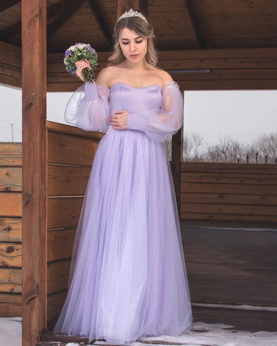 Lavender Long Sleeves Tulle Bridesmaid Dresses A Line