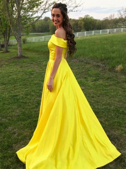 Off The Shoulder A Line Yellow Satin Prom Dress Floor Length