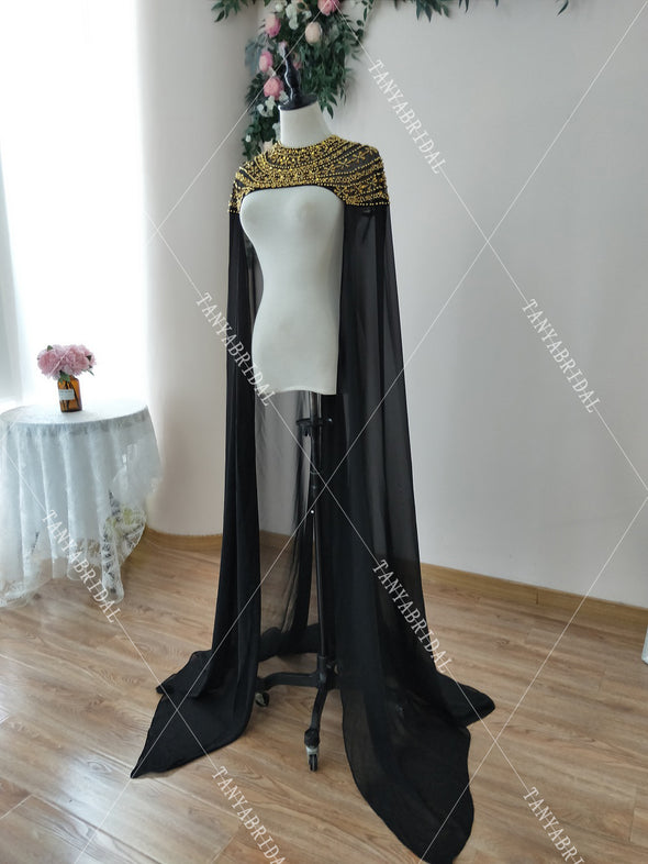 Black Luxury Beaded Wedding Cape Gold Beads Fashion Bridal Shawl Afrcan Event Evening Accessories Long Cape DJ131