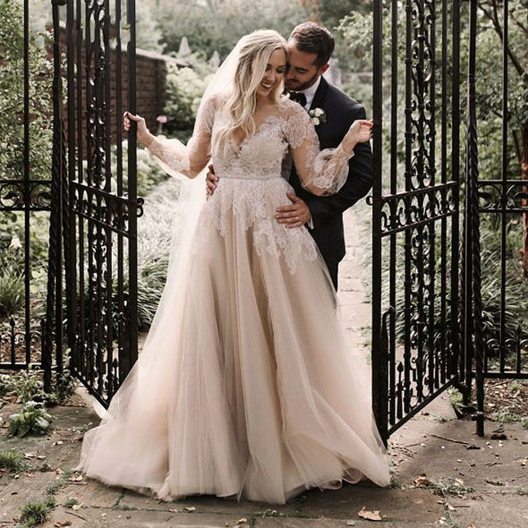 Lace Appliques Tulle Bridal Gowns 2020 Long Sleeve Boho Plus Size Wedding Dresses