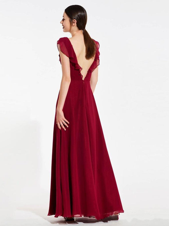 Fashion Burgundy Boho Bridesmaid Dresses V neck Backless Chiffon Empire Short Sleeves Wedding Guest Evening Prom Formal party Dress