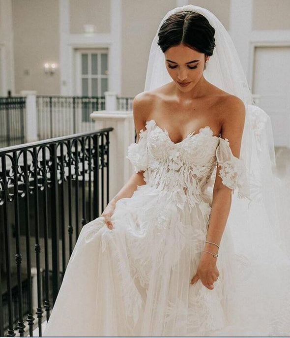Princess Ivory Wedding Dress Off Shoulder A Line Court Train