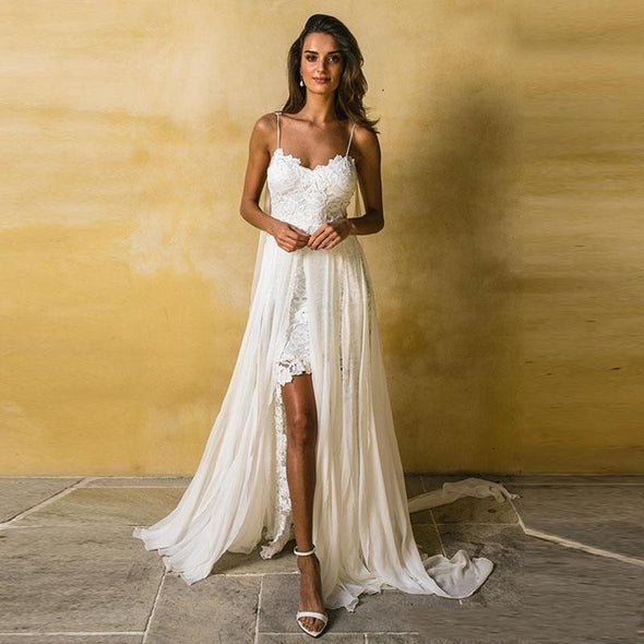 Wedding Dress Spaghetti Strap A Line Lace Sexy V Neck Backless Beach Chiffon Wedding Gown