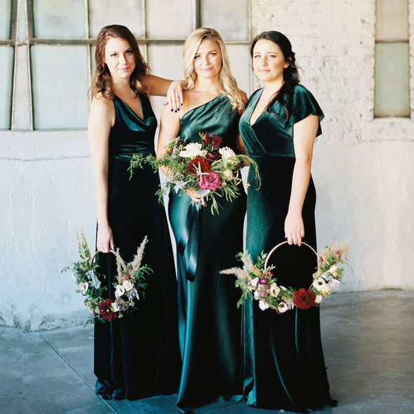 Teal Green Long Velvet Bridesmaid Dresses 3 Styles A B C Wedding Guest Party Dress MBP40