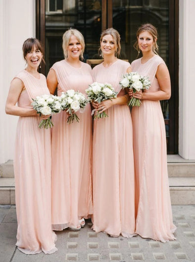 A Line Long Chiffon Peach Pink Bridesmaid Dresses Party Gown